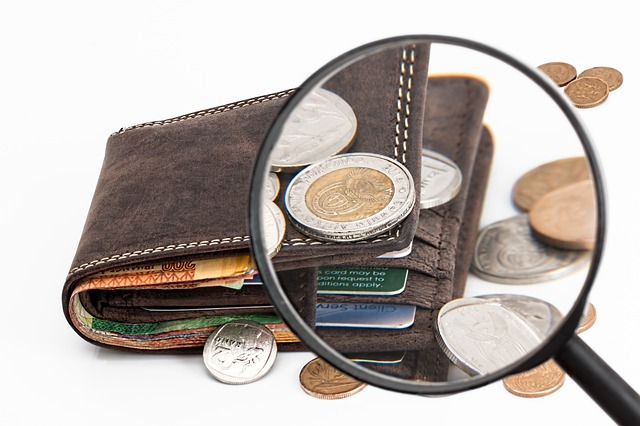 peněženka a lupa