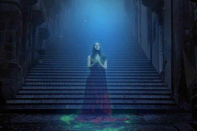 duch, strašidelné, schody